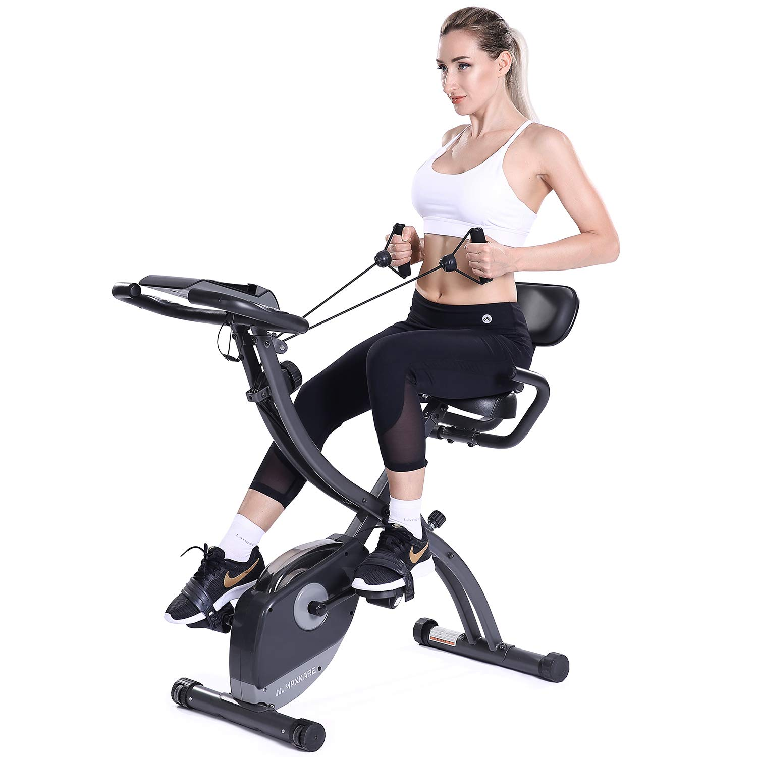 MaxKare 3 in1 Folding Magnetic Upright Exercise Bike w Pulse, Indoor Stationary Bike with Adjustable Arm Resistance Bands and LCD Monitor