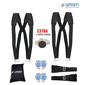 Umien Moving Straps Set for Lifting & Carrying Heavy Objects, Appliances & Furniture Two Person Pain-Free Moving Dolly - Extra 4 Gloves, Storage Bag & 4 Super-Sliders -