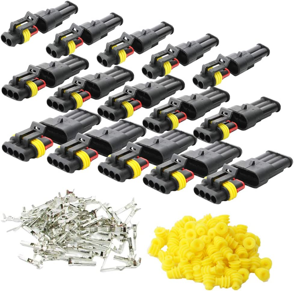 CESFONJER 15 Pcs Electrico Impermeable Conector, Conectores Sellado Impermeable Sellado Impermeable 2, 3, 4 Canales Pin para Coche Motos