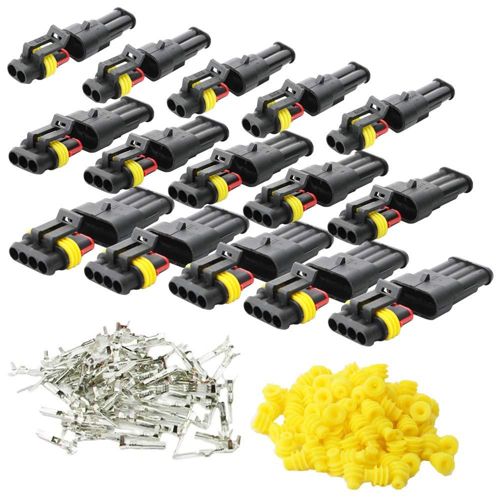 KINYOOO 15 Set Wasserdicht Schnellverbinder, Kabel Steckverbinder Stecker fü r KFZ LKW Auto Kayak Boote Roller Motorrad (2 Polig× 5, 3 Polig× 5,4 Polig× 5, Gelbes Siegel)