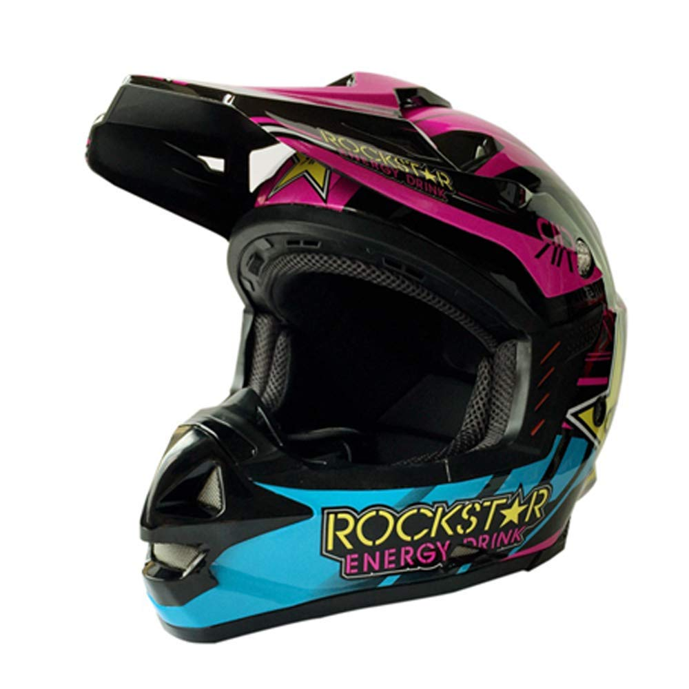 MMRLY Casco de Motocross para Adultos Casco de Motocicleta Rockstar MX Profesional ATV Scooter Casco D.O.T Certificado con m/áscara de Guantes de Gafas // 55~56CM ,M 55-62 CM M, L, XL, XXL
