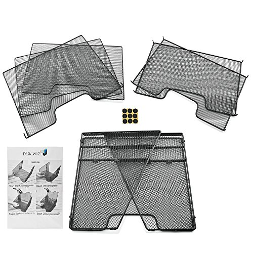 Desk Organizer File Folder Holder All-in-One With Non-Slip Rubber Feet by Desk Wiz   Black Metal Mesh Office Desktop Supplies Accessories Organizer   Includes 3 Sticky Note Pads and 3 File Folders by Desk Wiz (Image #5)'