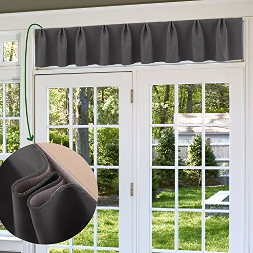 NICETOWN Grey Window Valance for Bedroom - Home Furnishing Adjustable Blackout Curtain Valance for Transom Window by, 1 (Transom Window Panel)