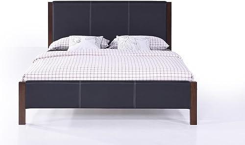 Malko Black Leather Platform Bed
