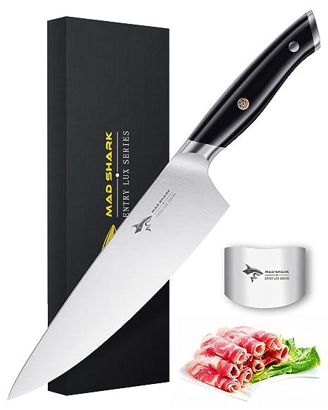 MAD SHARK Cuchillo de Chef Pro Cuchillo de Cocina Cuchillo de Chef de 8 Pulgadas, Cuchillo de Acero Inoxidable de Alto Carbono Alemán de la Mejor ...
