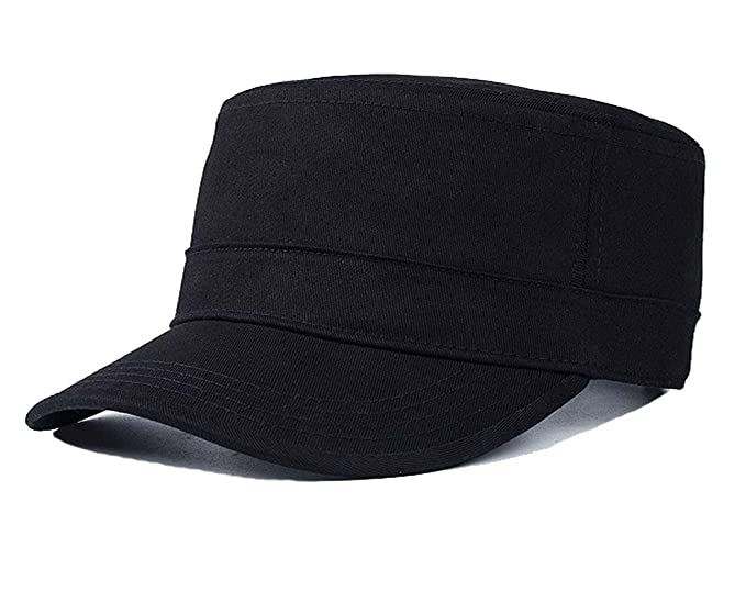 bf0f735f011 Yusongirl Cadet Army Cap Military Style Hat Flat Top Adjustable Size Unisex  (Black)