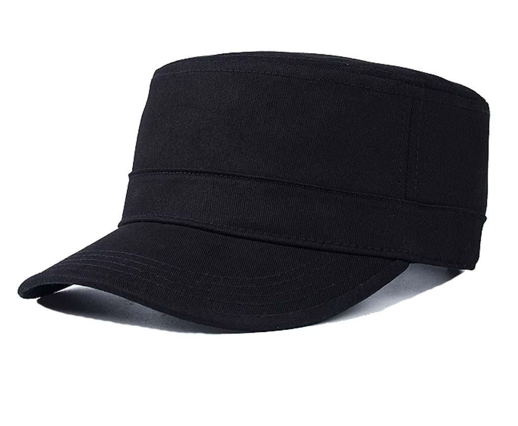 Yusongirl Cadet Army Cap Military Style Hat Flat Top Adjustable Size Unisex (Black)