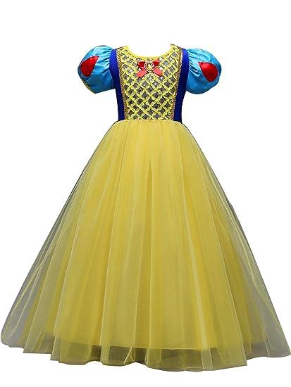bea2b0b2637 Eleasica Princesse Blanche-Neige Costume Enfant Fille Officielle Tenue à  Manches Bouffante Tutu en Tulle