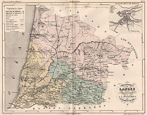 département des landes carte Amazon.com: LANDES. Carte du département. Plan de Mont de Marsan