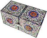 JMcore Mother of Pearl Arabesque & Flower Design Jewelry Box Nacre Jewellry Case