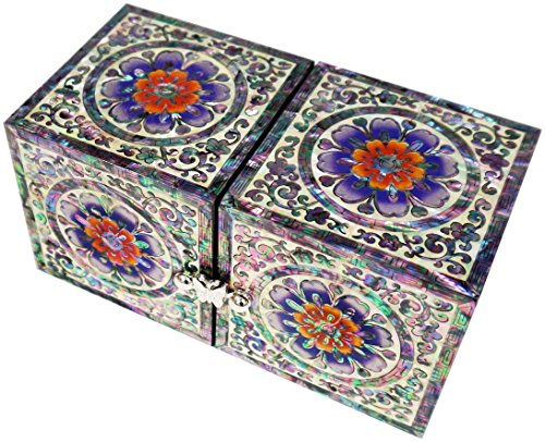 JMcore Mother of Pearl Arabesque & Flower Design Jewelry Box Nacre Jewellry Case by JMcore High Quality Jewelry Box