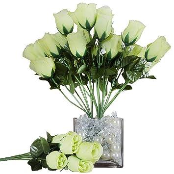 Balsacircle 84 Lime Green Silk Rose Buds 12 Bushes Artificial Flowers Wedding Party Centerpieces Arrangements Bouquets Supplies
