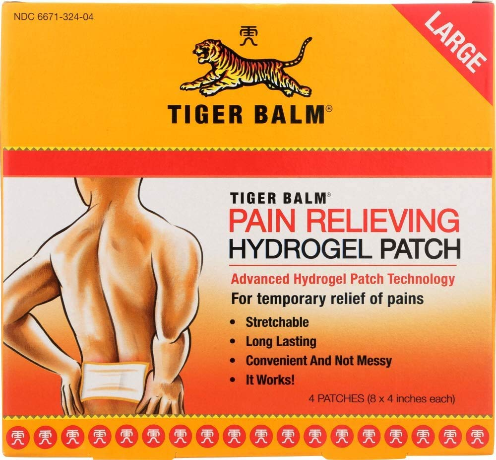 """Tiger Balm Pain Relieving Large Patch, 4"""" x 8"""", 4/pack – Pain Relieving Patch – For Temporary Relief of Minor Aches of Muscles and Joints – Formulated with Menthol, Camphor, and Capsicum – Fast-Acting"""