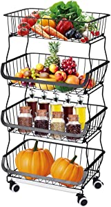 Buruis 4 Tier Stackable Storage Baskets, Metal Wire Fruit Vegetable Basket Organizer Bins with Casters, Adjustable Anti-Skid Feet, Plastic Tray, Utility Rack for Kitchen, Pantry, Bathroom (Black)