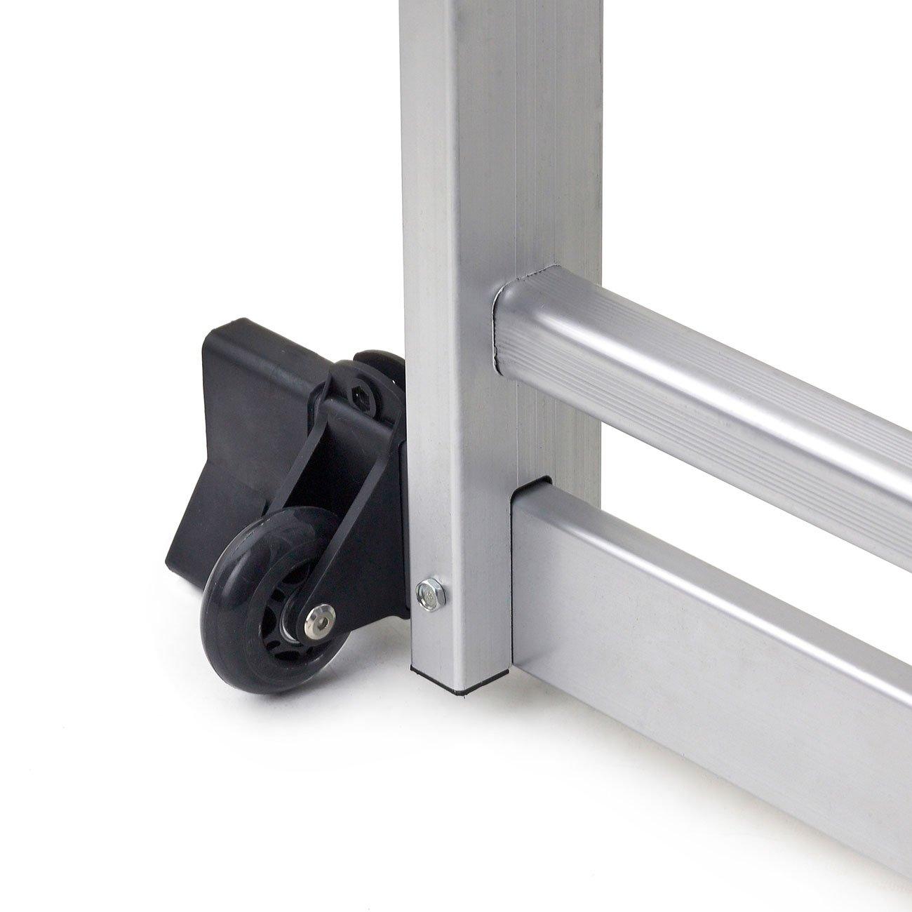 MAXCRAFT /Échafaudage Multifonction /Échelle Pliable Echelons Bricolage avec plateforme de travail mobile Main courante Aluminium EN131 Charge 150 kg