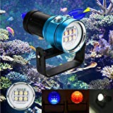 Dreamyth Practical Diving Flashlight Light Torch Photography 100M Underwater 4x Red+4x purple LED (Blue)