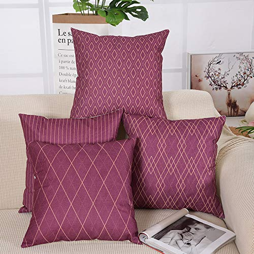 Yinnazi Stripe Pattern Throw Pillow Cover Grid Printed Burgundy Cushion Case Square Decorative Pillowcase for Couch Living 18 x 18 Inch Set of 4