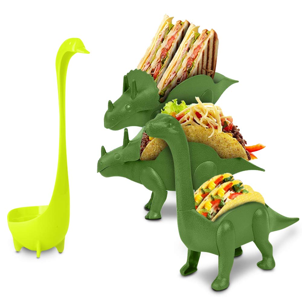Dinosaur Taco Holder Set by East World - Tacosaur Tribe with BrontoSpoon Ladle - 3x Dino Stands for 6x Jurassic Tacos! Triceratops Taco Stand Holder, Taco Truck or Kids Plastic Novelty Taco Plates