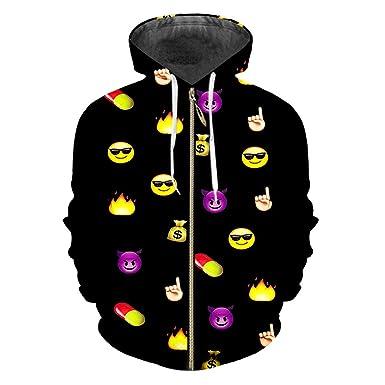 Sudadera con Cremallera 3D Impreso Emoji Outwears Hip Hop Ropa de ...