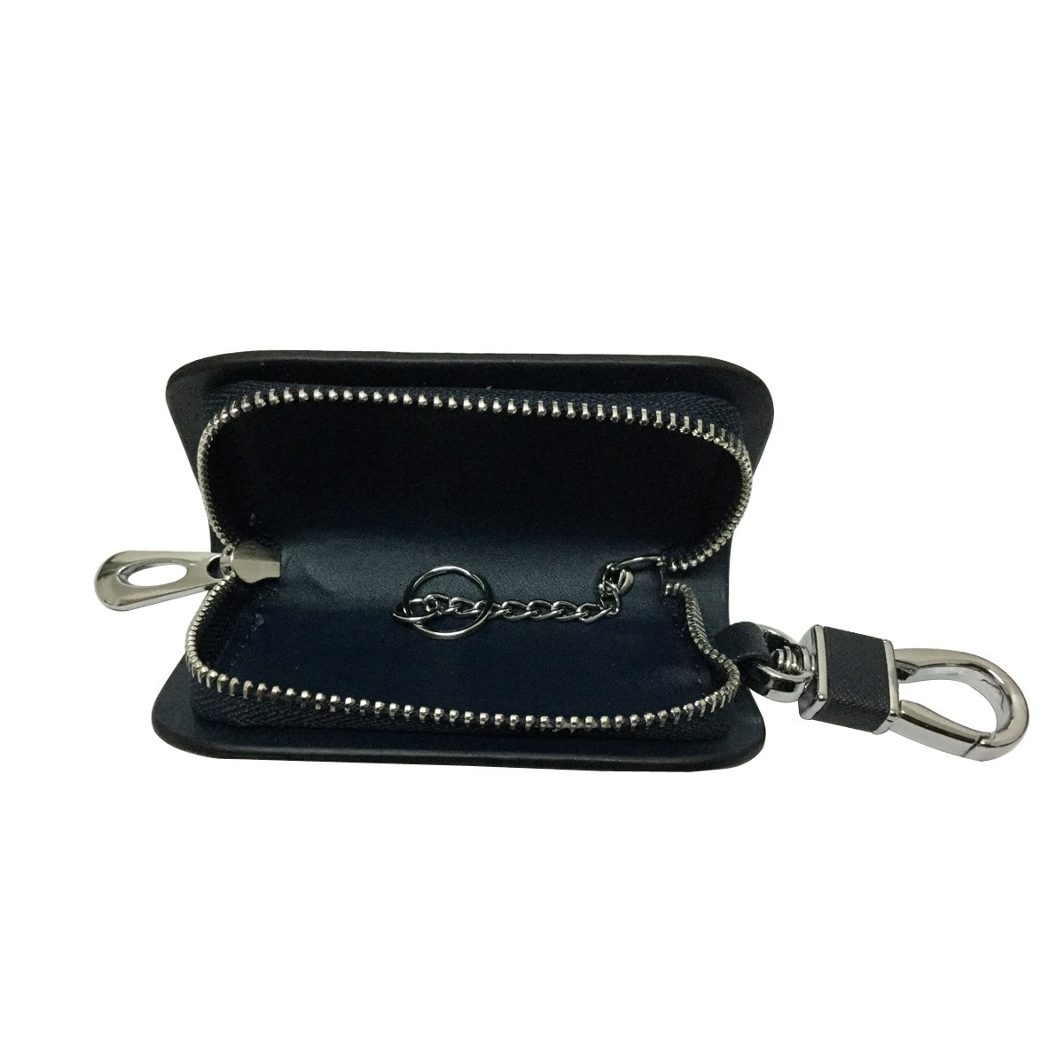New 1pcs Mesh Black Leather Car Key Wallet Zipper Case Keychain Coin Holder Metal Hook Bag Collection For Mustang Car Vehicle Auto Lover