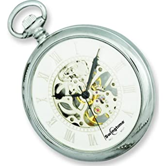 265257326 Image Unavailable. Image not available for. Color: Swingtime Chrome Plated  Open Face Skeleton Pocket Watch