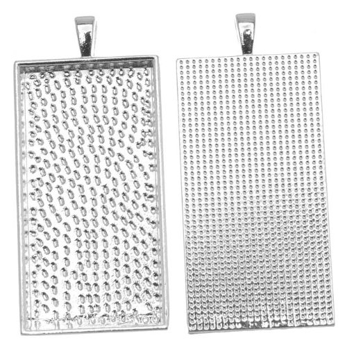 - Beadaholique 1-Piece Rectangle Bezel Pendant, 24mm by 48mm, Silver Plated