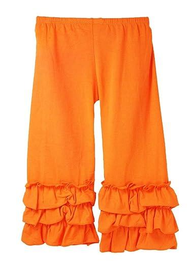 ed88396a573ef Dress Up Dreams Boutique Little Girls Waterfall Ruffle Cuff Pants - Orange  0-1T