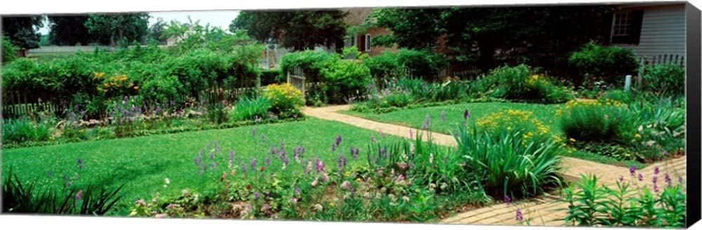 USA, Virginia, Williamsburg, Colonial Garden by Panoramic Images Canvas Art Wall Picture, Museum Wrapped with Black Sides, 36 x 12 inches