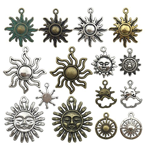 Celestial Sun Charm-100g (about 45-50pcs) Craft Supplies Sun Charms Pendants for Crafting, Jewelry Findings Making Accessory For DIY Necklace Bracelet M6 (Sun Collection)