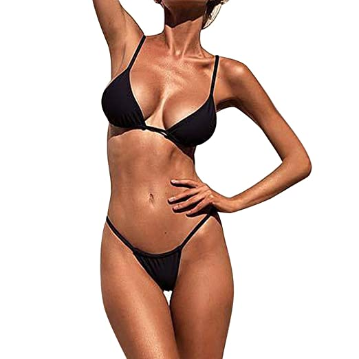 c4fc6ccc3f01d Winsummer Women's Sexy Low Waist Bandage Bikini Beachwear Tankini Swimsuits  Push-Up Padded Bra Bathing