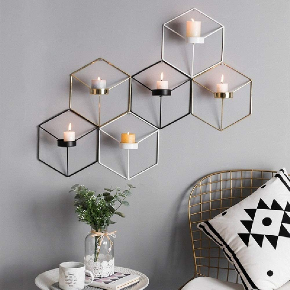 ZATOGOO Geometric Pillar Candle Holders Set of 3-8.3/7.5inches High.Wall, Hanging,Tealight,Votive Candle Holder,Gifts for Wedding/Party/Home/Spa/Reiki/Aromatherapy (Gold/Black/White)