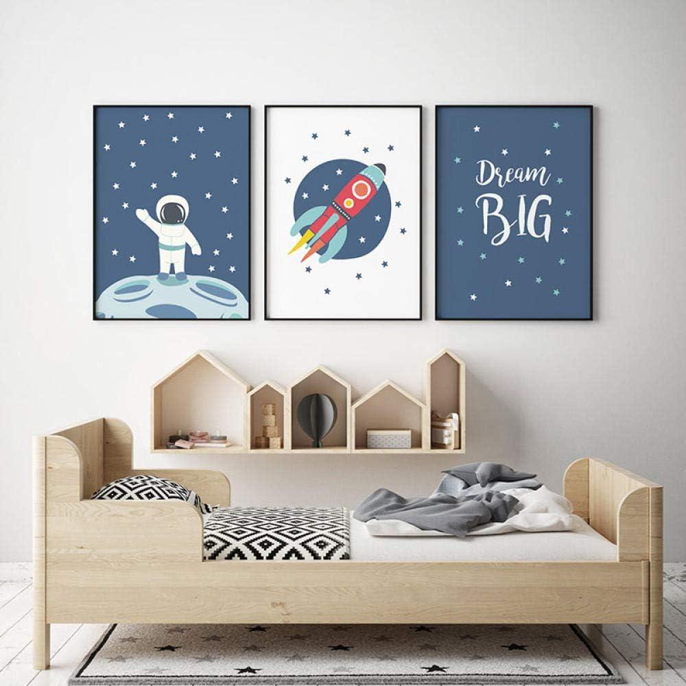 Kein Rahmen MYSY Blauer Astronaut Space Poster Nordic Minimalist Leinwand Malerei Wandkunst Bild f/ür Kinderzimmer Babyzimmer Jungen Zimmer Dekoration-30x40cmx3 STK