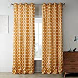 IYUEGO Iterative Orange Stars Pattern Grommet Top Lined Blackout Curtains Draperies With Multi Size Custom 50″ W x 84″ L (One Panel)