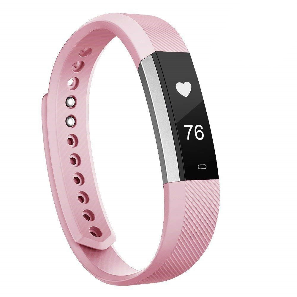 Fitness Tracker, MoreFit Slim HR Heart Rate Touch Screen Activity Tracker Wireless Smart Bracelet Pedometer, Silver/Blush