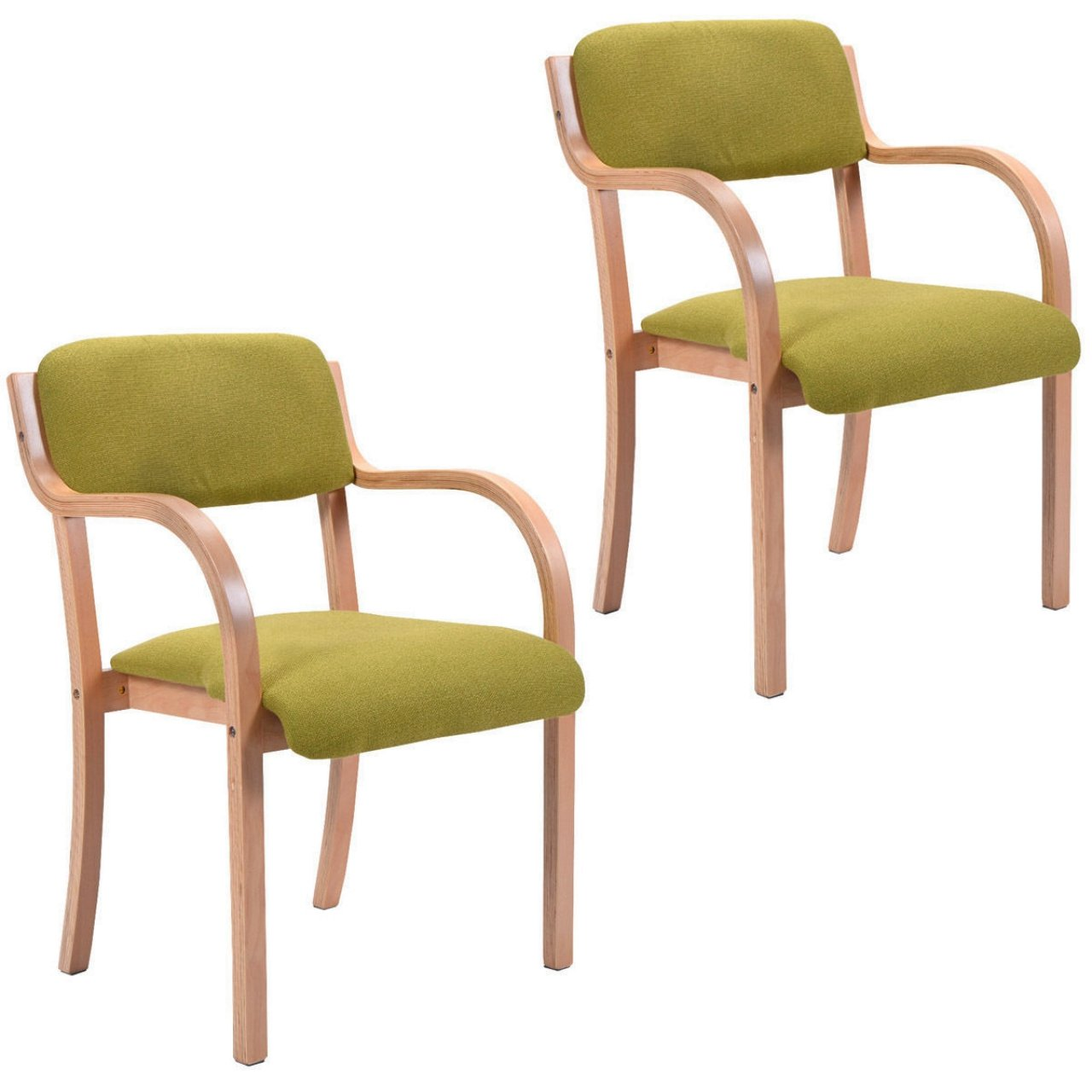 New Set of 2 Bentwood Arm Dining Chairs Accent Upholstered Home Room Decor Furniture/ Green #862