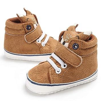 Originaltree - Zapatillas para bebé, niños, niñas, Dibujos Animados, de Corte Alto, Antideslizantes, Tela de algodón, marrón, 11cm: Amazon.es: Hogar