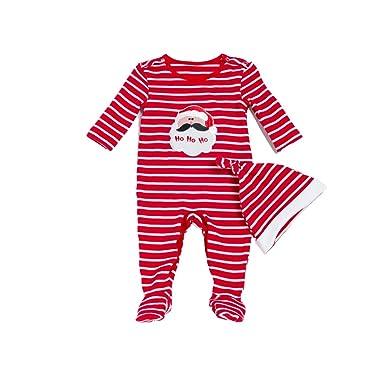 3bacc2b2b Hoffen Baby Girl Boy Long Sleeve Christmas Striped Romper Jumpsuit ...