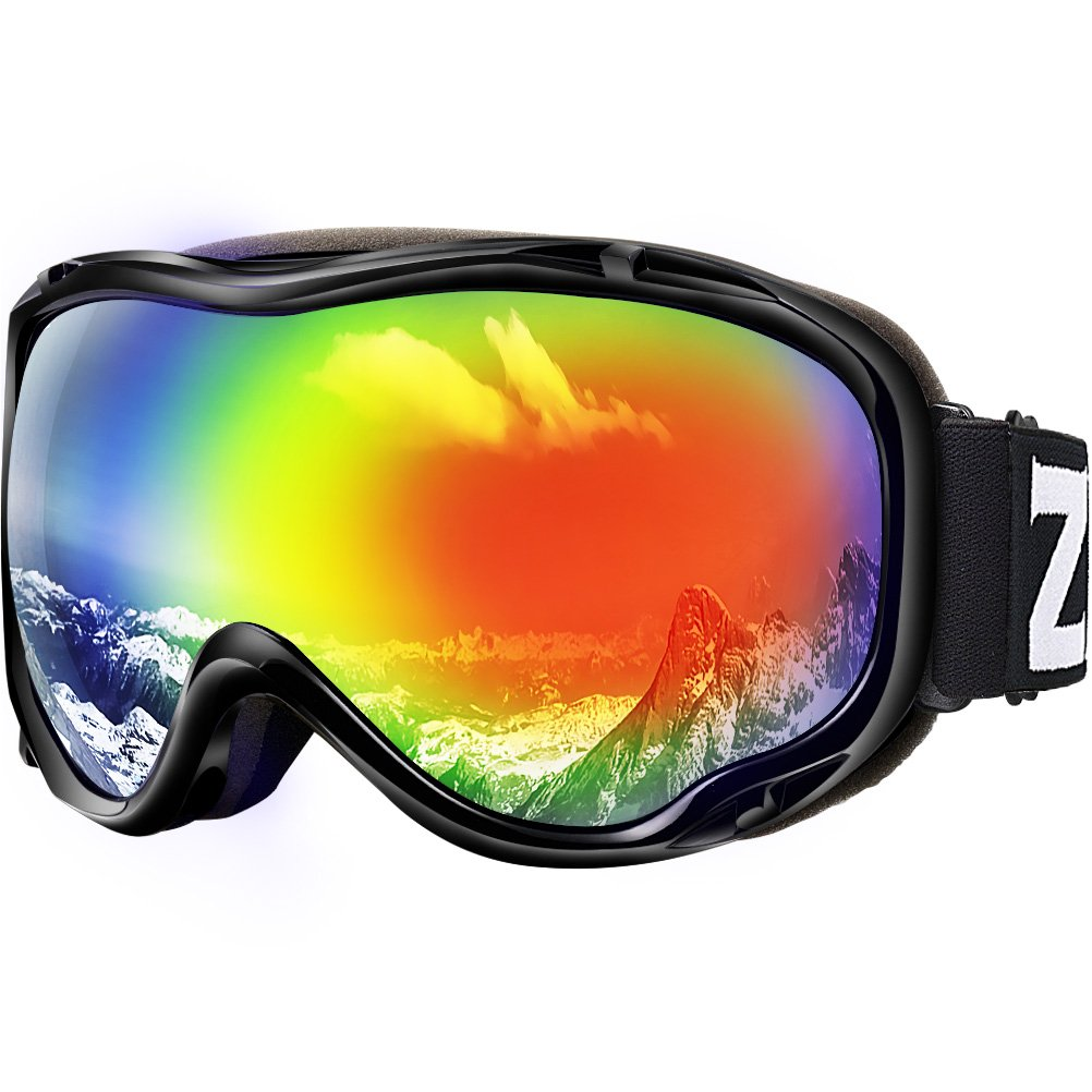 Zionor Lagopus Ski Snowboard Goggles UV Protection Anti Fog Snow Goggles for Men Women Youth VLT 16% Black Frame Mirrored Red Lens by Zionor