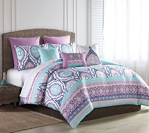 S.L. Home Fashions 8 Piece Raquel Turquoise/Purple Comforter Set Queen