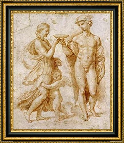 "Framed Canvas Print Wall Art Mercury Offering The Cup of Immortality To Psyche by Raphael - 10"" x 12"" Ready to Hang"
