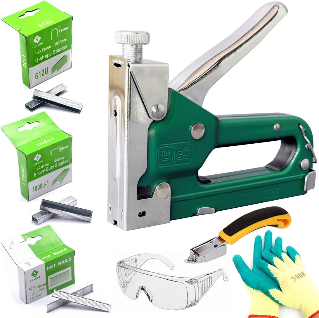 Benelet 3 in 1 Heavy Duty Manual Staple Gun with 3000 Staples and Remover,Protective Glasses,Gloves,Steel Nailer Stapler Kit for Upholstery,Fixing Material,Decoration,Carpentry,Furniture