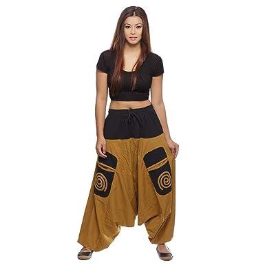 Simandra Haremshose Pumphose Aladinhose Pluderhose Yoga Goa Sarouel Baggy  Aladin Freizeithose Damen (Braun, S 6e4fe1818d
