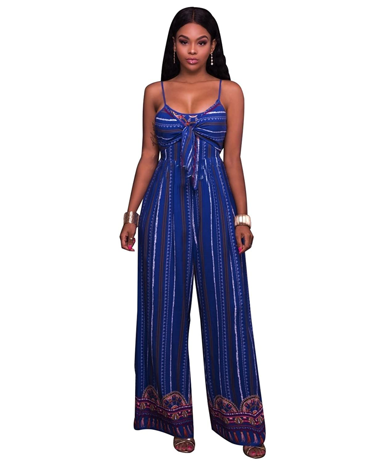 Womens Sexy Halter Sleeveless African Print Slim Party Clubwear Jumpsuit Romper