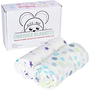 "Baby Blanket Muslin Swaddle - Bamboo Cotton Receiving Blankets Gift Set (47""x47"") 