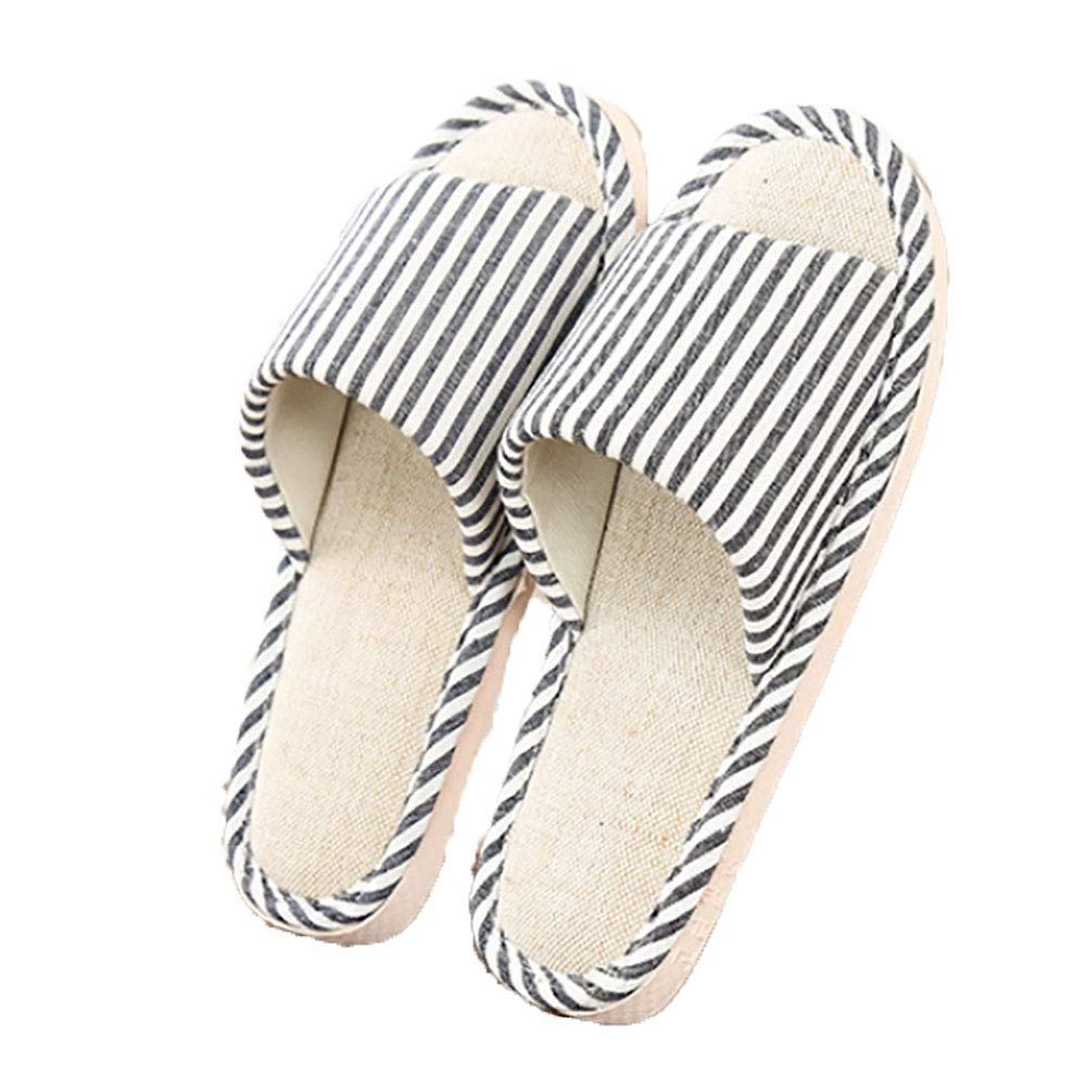 Marolaya Indoor Striped Slippers Home Linen Slippers Flax Slippers for Women