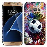 Galaxy S7 Edge Case - Vintage Color Soccer Hard Plastic Back Cover. Slim Profile Cute Printed Designer Snap on Case by Glisten