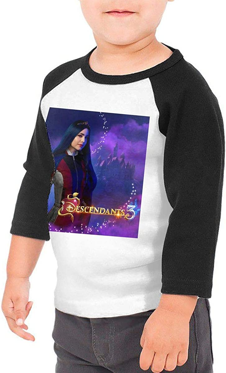 YiwuYshi Descendants 3 Evie Children Boys Girls Round Necklace Raglan 3//4 Sleeve Shoulder Shirt Baseball T-Shirt