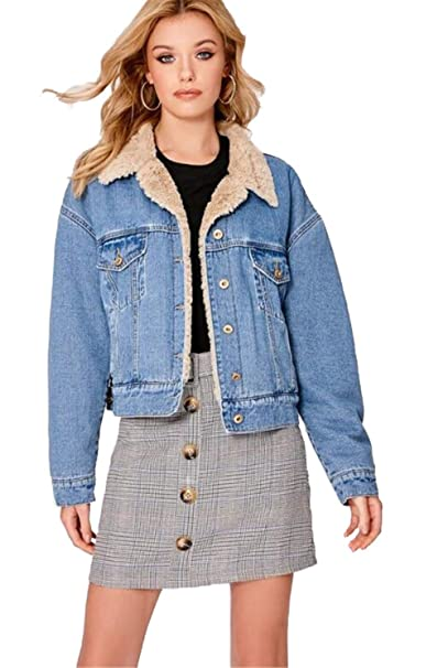 choose best fair price dirt cheap Stevia Angelina Blue Oversized Denim Jacket with Teddy Fur ...
