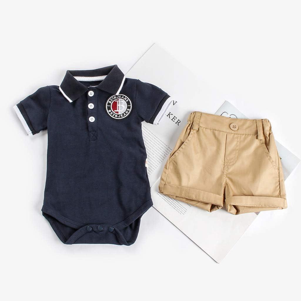 Baby Boys Gentleman Outfits Suits Bodysuit Infant Short Sve Romper Shirt+Shorts Pants Outfit Set 6M-24M