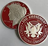 Aizics Mint 2nd Amendment Silver & RED Liberty Token. One-of-a-Kind Item for The Right to Bear Arms. 1922 Peace Dollar Design